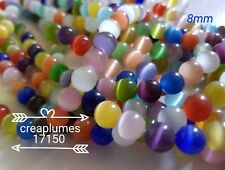 Lot 10 perles oeil de chat 8 mm couleur mixte