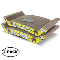 ScratchMe Cat Scratching Corrugated Board Scratcher Bed Pad with Catnip 2-pack