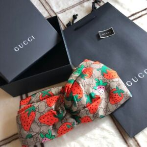 Gucci HEADBAND Strawberry GG Logo Silk 100% Stretch M/57cm Boxed Mint