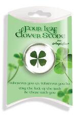 SHAMROCK Pocket Worry Stone in Gift Packaging - GENUINE 4-Leaf-Clover! Good Luck