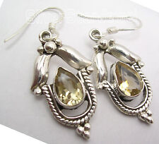 "Urban Style Art Earrings 1.6"" New 925 Solid Silver Natural Cut Drop Citrine"
