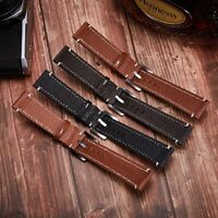 22mm Genuine Leather Watch Stainless Steel Buckle Two-piece Strap Band 3Colors