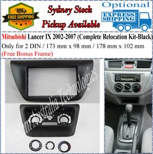 Fascia facia Fits Mitsubishi Lancer IX 2002-2007 Black Relocation Kit 2 DIN*