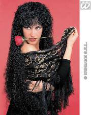 Ladies Long Black Curly Wig Sexy Latino Spanish Flamenco Dnacer Fancy Dress