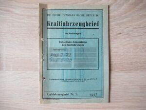 KFZ Brief Kraftfahrzeugbrief DDR PKW Wartburg AWE 353 1977