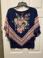 I.N. STUDIO, TANK TOP WITH BLOUSE, FLORAL, NAVY BLUE, SIZE PETITE L, STRETCH
