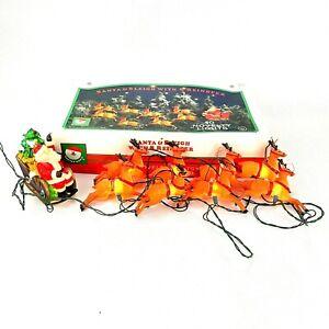Santas World Kurt Adler Novelty Lights Santa Sleigh & 8 Reindeer Vintage 1991
