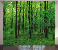 Green Curtains Spring Forest Bush Rural Window Drapes 2 Panel Set 108x84 Inches