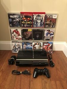 Sony PlayStation 3 PS3 Fat 80GB Console Bundle w/ OEM Controller + 12 Games Lot!