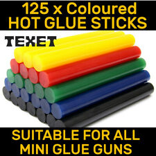 COLOURED HOT MELT GLUE STICKS 100 x 7MM LONG FOR TRIGGER ELECTRIC MINI GLUE GUN