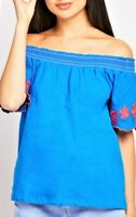 Womens Off-the Shoulder Bardot Top Strapless Embroidered Sizes 8-10-12-14-16-18