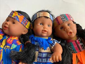 """Vtg 1990's Gigo Toy Bean Bag Kids Beanie Kids 8"""" Bean Bag Dolls LOT Of 3"""
