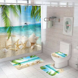 Seaside Shower Curtain Bathroom Rug Set Thick Bath Mat Non-Slip Toilet Lid Cover