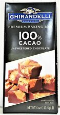 Ghirardelli Premium Baking Bar 100% Cacao Unsweetened Chocolate 4 oz
