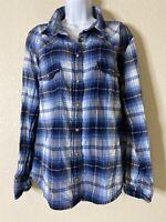 Jachs Girlfriend Womens Size XXL Blue Plaid Flannel Pearl Snap Shirt Long Sleeve