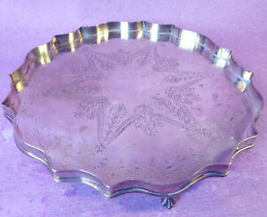 Antique Victorian Silverplate Footed Salver Tray Late 1800s FBrs Fenton Brothers