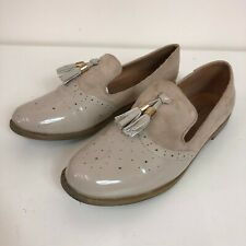 No Doubt Ladies Beige Patent Suede Smart Tasseled Brogue Loafers Shoes UK Size 8