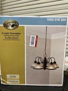 Hampton Bay Halophane 5-Light Oil Rubbed Bronze Chandelier 1000016268