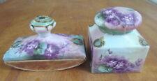 Antique hand painted purple violets porcelain ink well & roller France gold trim