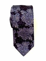 Zanetti  Men's Silk Classic Neck Tie Navy Blue Paisley Made in Italy