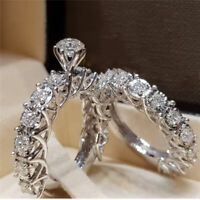 2Pcs/Set Women 925 Silver Filled White Sapphire Rings Wedding Jewelry Sz 6-10