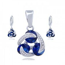 NEW 18K WHITE GOLD PLATED & CUBIC ZIRCONIA SAPPHIRE BLUE NECKLACE & EARRING SET