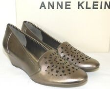 Womens Size 7 Anne Klein Alyssa Pewter Sky Cutout Wedge Mules Slip-on Shoes