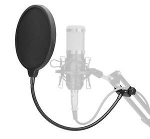 Popschutz Popkiller Pop Filter Nylon Schirm Studio Mikrofon Schwanenhals schwarz