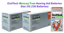 120 pcs of iCellTech Size 312  Mercury Free Hearing Aid Batteries Expire 2021