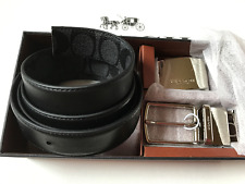 NWT Coach Men's Black Plaque Signature Reversible Dress Belt Box Set F65242-New