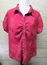 Cato Plus Size 22/24 2x Red Leaf Print Shirt Short Sleeve Button Front