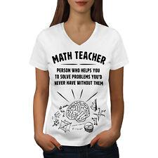 Wellcoda Math Teacher Gift Womens V-Neck T-shirt, Profession Graphic Design Tee