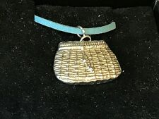 "Fishing Basket TG22 English Pewter On 18"" Blue Cord Necklace"