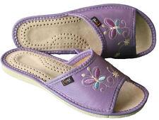 Pantofole ciabatte da donna blu 100% pelle