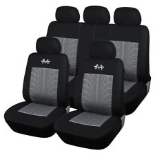 Full Set Sports Car Seat Covers Seat Protector Interior Accessory Black+Gray