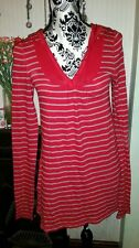 Fab JACK WILLS Red/Grey Striped Hooded Tunic/Dress, Size 10
