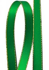 Emerald Solid Color 3/8-Inch Gold Edge Ribbon, 50-Yards