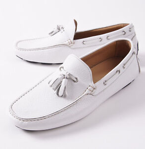 Kiton Napoli White Soft Calf Leather Driving Moccasins Loafers US 9 Shoes NIB