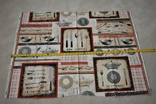 """34"""" Long, Retro Cafe Utensils & Place Settings on Cotton, Michael Miller, N3157"""