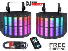 More details for 2x qtx derby9 led light effect wash beam party strobe rgbay  + remote + 3m dmx