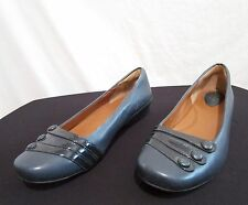 EUC!!!Clarks Artisan Peacock Blue Leather Low Heel Loafer Flats Shoes Size 8.5 M