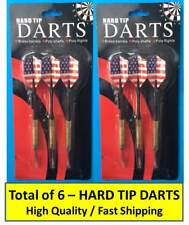 6 PIECES: HARD TIP DARTS BRASS BARRELS POLY SHAFT & AMERICAN FLAG POLY FLIGHTS