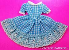 Barbie Doll Sized Blue Checkered Dress Mint Condition ~ Vintage 1960's