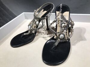 Jimmy Choo Crystal Leather Mules Ankle Strap Heels 4 UK / 37 RRP £1,000 Vintage