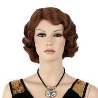 Finger Wave Wig Women 1920s Flapper Ombre Brown Short Bob Cosplay Synthetic Hair