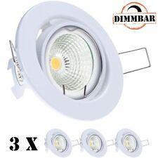 3er LED Einbaustrahler Set EXTRA FLACH (35mm) in Weiß mit LED Markenleuchtmittel