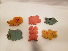 Antique Set of 6 Baby Toys, Sponge/ Foam Animals, 6 Different Animals, Soft