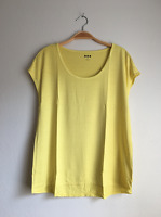 THREE DOTS Essential Nichole Short Dolman Sleeve Solid Yellow Tee Shirt Top $78