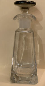 Vintage Etched Glass Oil And Vinegar Bottle Ground Glass Silver Topped Stopper