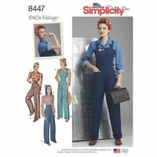 Simplicity Sewing Pattern 8447 Misses 16-24 Vintage Overalls Pants Blouse Shirts